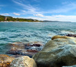 wild rocky beach and views of the coast of the sea