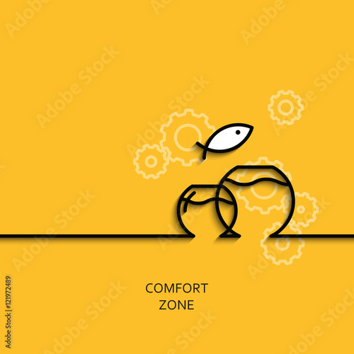 Fotografie, Obraz  Vector business illustration linear comfort zone as aquarium