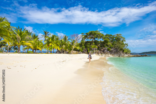 Fotobehang Strand White sand beach on Malcapuya Island, Philippines