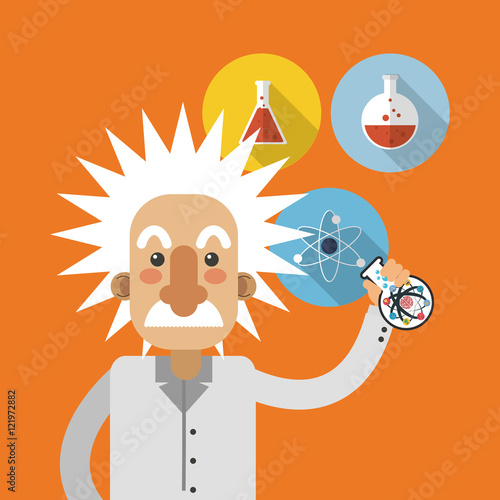 Photographie flat design albert einstein with science related icons image vector illustration