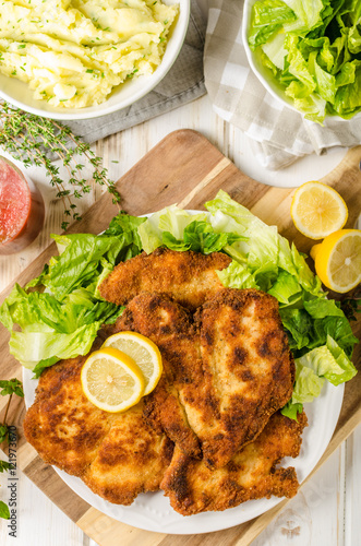 Delicious schnitzel with salad Poster