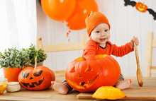 Happy  Baby With Pumpkin For Halloween