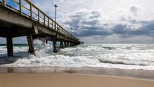 Pompano Beach Pier Broward County Florida At The Beach By Windy Weather