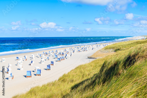 Garden Poster Northern Europe View of beautiful beach and sand dune in Kampen village, Sylt island, Germany