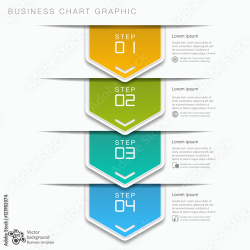 Flow Chart  4-step Process  Vector Graphic