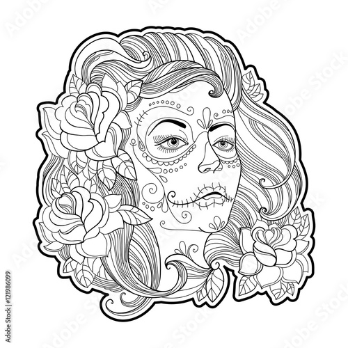 - Girl Face With Sugar Skull Or Calavera Catrina Makeup And Roses Isolated On  White. Vector Illustration