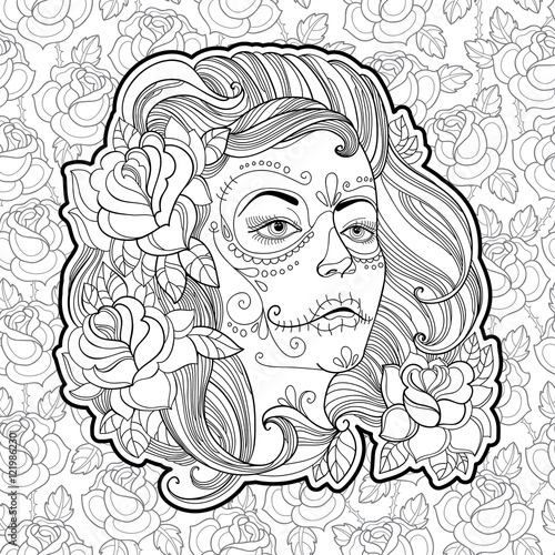 Woman Face With Sugar Skull Or Calavera Catrina Makeup On