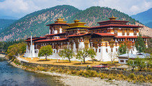 The Punakha Dzong Monastery In Bhutan Asia One Of The Largest Monestary In Asiawith The Landscape And Mountains Background, Punakha,Bhutan
