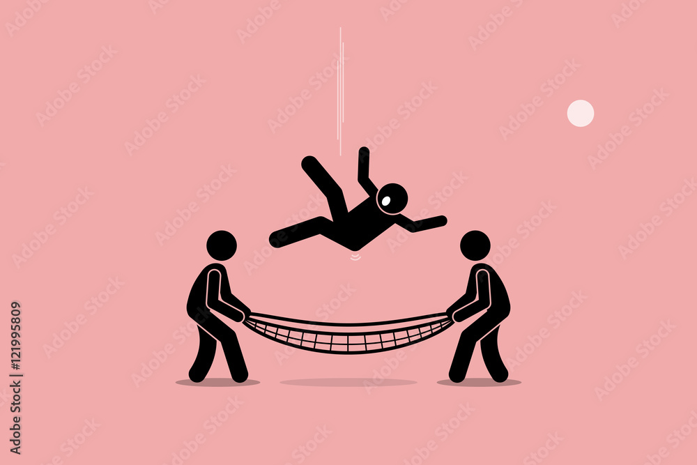 Fototapeta Man falling down and saved by people using safety net at the bottom of the ground. Vector artwork depicts safety, security, insurance, friendship, help, and support.
