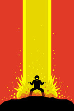 Superhero Superhuman Charging Up His Super Power Energy That Explode Up To The Sky Causing A Massive Explosion. His Super Power Is Overwhelming. Vector Artwork Drawn In Anime Style.