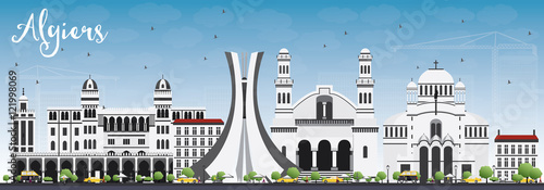 Algiers Skyline with Gray Buildings and Blue Sky. Wallpaper Mural