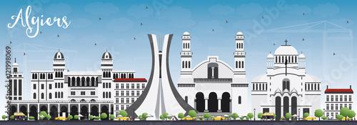 Fotografiet Algiers Skyline with Gray Buildings and Blue Sky.