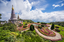 Pagoda On The Top Of Inthanon Mountain, Chiang Mai, Thailand.