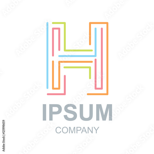 abstract letter h logo design templatebusinesscolorful creative signvector icon