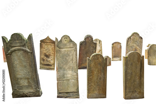 Foto group of cemetery graves isolated on white background with copyspace