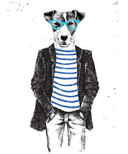 Hand Drawn Dressed Up Dog In Hipster Style