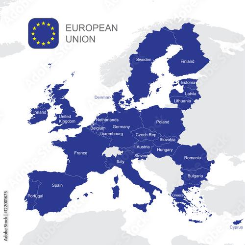 Fotografie, Obraz  The European Union map