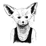 Hand drawn dressed up fennec in hipster style - 122004280