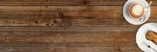 Tasse Cappucino Mit Gebäck Auf Rustikalem Holztisch