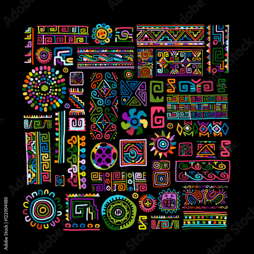 Photo  Ethnic handmade colorful ornament for your design