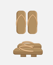 Traditional Wooden Sandals Vec...