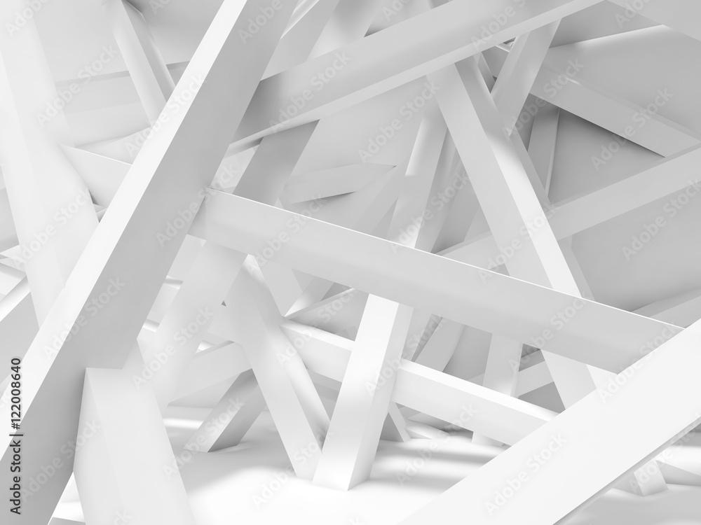 Fototapety, obrazy: Chaotycznie poukładan białe belki w pustym pokoju, abstrakcja 3D