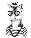 Hand drawn dressed up fennec in hipster style - 122011696
