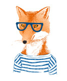 Hand drawn dressed up fox in hipster style - 122011806