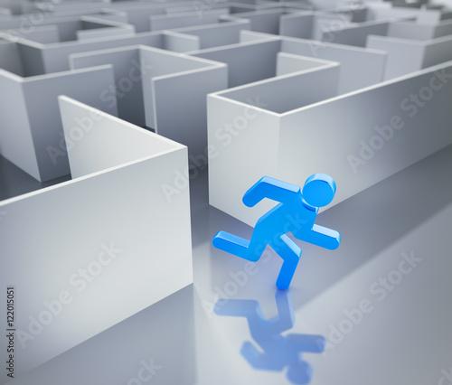 Fotografie, Obraz  Labyrinth mit blauem Männchen