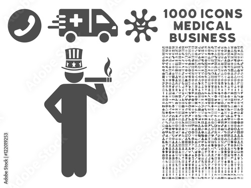 Gray Capitalist icon with 1000 medical business vector pictograms Poster