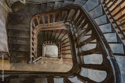 Old staircase of an abandoned house