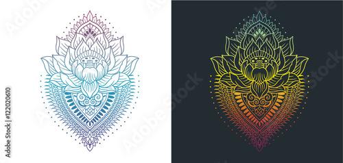 Fotografie, Obraz  lotus with mandala colored outlines
