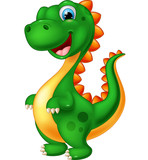 Fototapeta Dino - Cute green dinosaur cartoon