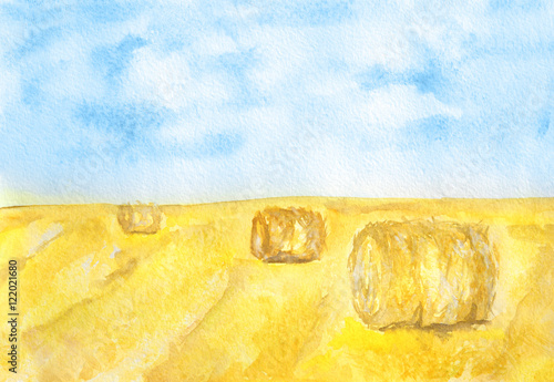 Watercolor autumn landscape. Blue sky with yellow fields and haystacks. Beautiful country landscape.