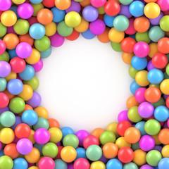 Pozadina šarenih kuglica s mjestom za vaš sadržaj