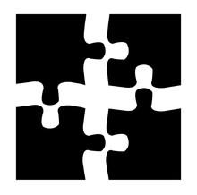 Puzzle Teile - Schwarz 2x2