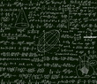 Math vector scientific technical seamless pattern with handwritten formulas, calculations, plots, signs, equations on a green