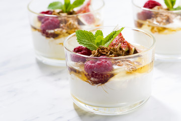 yogurt with honey and fresh figs, horizontal