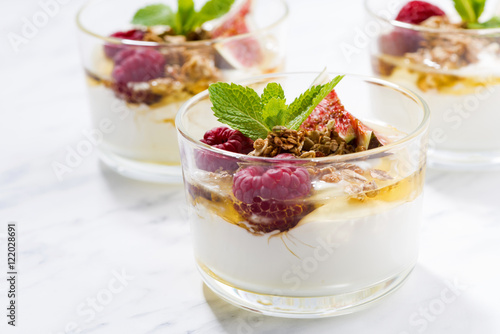 Foto op Canvas Dessert yogurt with honey and fresh figs, horizontal