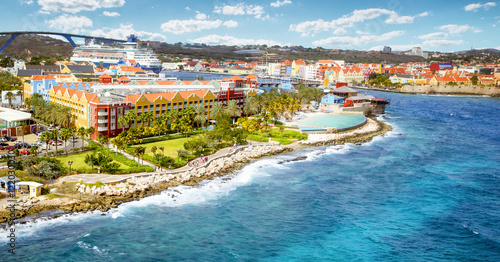 Spoed Foto op Canvas Caraïben Aerial panorama of Willemstad town in Curacao