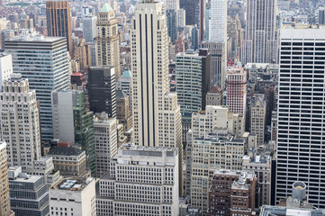 View of the skyscraper canyons of the Midtown Manhattan, New York City skyline