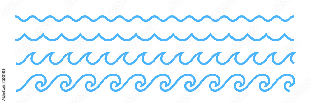 Fototapety, obrazy: Blue line ocean wave ornament pattern