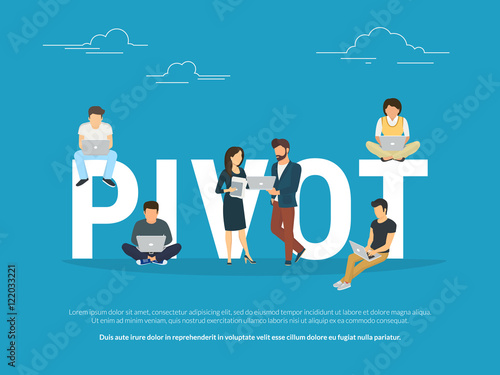 Cuadros en Lienzo  Project pivot concept illustration of business people working together as team