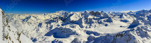 Amazing view of swiss famous moutains in beautiful winter snow.