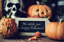 Text We Witch You A Happy Halloween In A Chalkboard