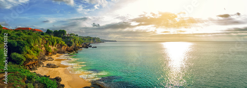 Fotobehang Bali Panoramic seaview with picturesque beach at sunset. Tegalwangi beach, Bali, Indonesia