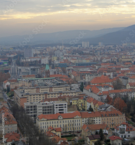 Poster Brussel cityscape of Maribor, view from Piramida hill