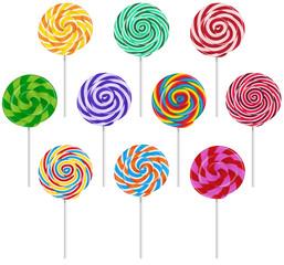 Fototapeta Do cukierni Vector set of colorful round lollipop on white background.
