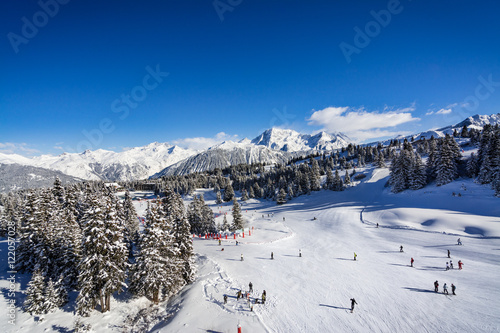 Sun on the ski slopes in Courchevel, Savoy French Alps Tableau sur Toile