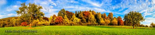 laka-z-kolorowymi-drzewami-i-blekitnym-niebem-jesienia-panorama